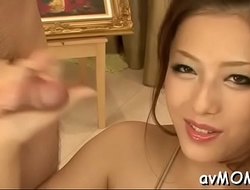 Hot asian mom strips and her tight muff finger fucked