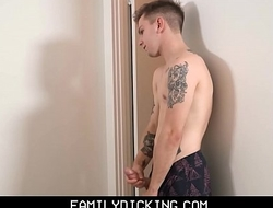 Blonde Twink Stepson Masturbates And Records Selfies While Stepdad Showers