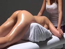 Lesbian Girl Erotic Massage Oil Table - LesbianCums.com