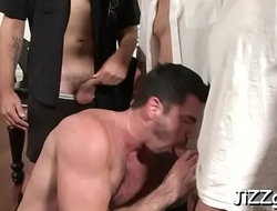 Hunks with large cocks fantastic copulation in group during gay orgy