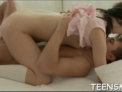 Naughty teen performs alluring blowjob and cock riding