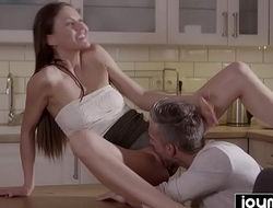 Joymii- hungry husband eats young and  juice pussy for dinner from incredible hot wife and cums inside her