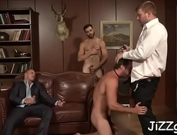 Needy men love sharing the ramrod in crazy anal group scenes