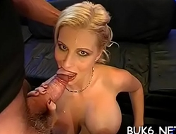 Chick is giving moist blowjob to several different peckers