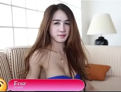 Cute thai lady-boy jerks off penis and gets asshole split