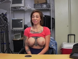 Big nipples and tattoos make this horny boss fuck new chick