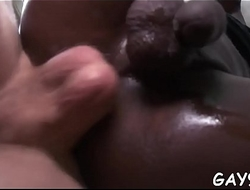 Butthole of pretty chocolate thug stuffed by white dong
