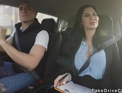 Milf examiner fucks in driving school car