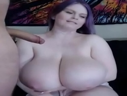 Huge boobs.Cam show.Blow job cum on boobs.