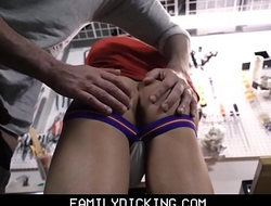 Athletic Twink Stepson Fucked By Stepdad In Garage