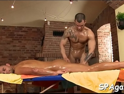 Hot hunk gets his taut anal canal explored by masseur