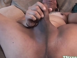 Auditioning shemale pleasing herself
