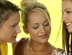 2 naughty legal age teenager girls kiss and lips before caressing twats