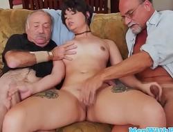 Teen beauty trio with pervert oldguys