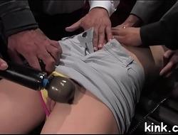 Hot girl manhandled and arse fucked in hard bondage.