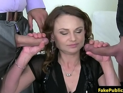 Casting euro babe jizzed after double blowjob