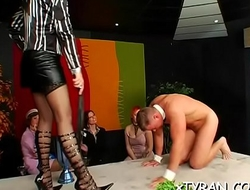 Innocent looking villein made to suck hard ramrod while toyed