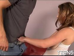 Beautiful teen slut sucks and rides her teacher'_s weenie