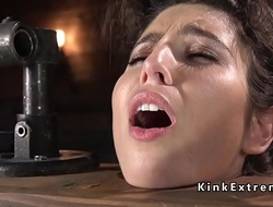 Slave in neck lock pussy vibed