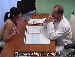 Tanned brunette babe fucking doctor