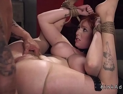 Busty fat slave gets anal fucked