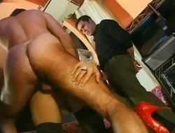 Hairy man fucks shemale while she sucks another cock at the same time