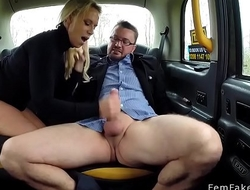 Guy fucks blonde cabbie in boots