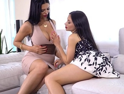 Amazing Russian lesbians are using gold and pink toys for best orgasm