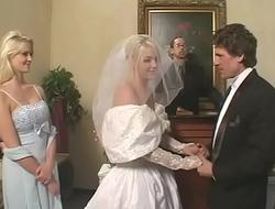 Fetish bride in satin wedding dress gets a hard rough DP