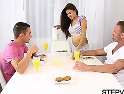Teen banging concerning stepbro increased by stepdad
