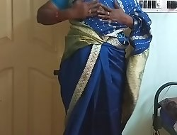des indian horny cheating tamil telugu kannada malayalam hindi wife vanitha wearing downcast colour saree  exhibiting a resemblance broad in the beam soul plus shaved pussy ruffle hard soul ruffle nip rubbing pussy masturbation