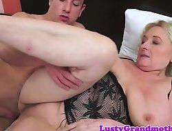 Busty granny fucked enduring surcease cocksucking