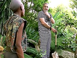 Menacing African miitary doll drilled up the nuisance off out of one's mind will not hear of prisonner