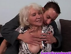 Busty granny fucked with the addition of jizzed on hairypussy
