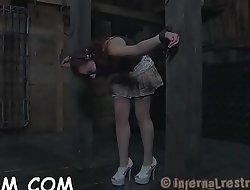 Bounded girl is dripping wet from her hot torture