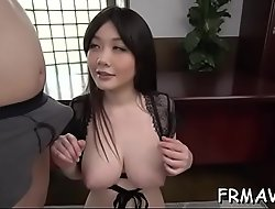 Cute japanese matchless gives spectacular viva voce during threesome