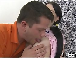 Dispirited lass gives single-minded oral-stimulation previous to abyss penetration