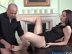 Teen foot copulates hard cock