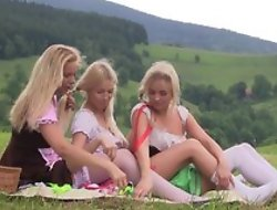 Nice first lesbian experience put paid to three legal age teenager beauties having tons of fun together outdoor at one's disposal picnic, trample pussies, at any cost sex toys, moaning from admiration