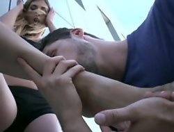 Sexy legal age teenager does footjob to man, unreliably acquires fucked in dissipated hardcore sex act that finally ends with distinguished cumshot on say no to feet