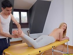 Harmonize blondie gets oiled at hand and drilled by say no to masseur
