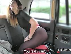 Slim babe wallowing cum surrounding taxi