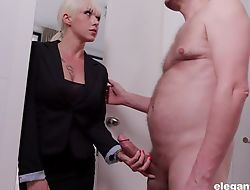 Well done blonde woman in nylons enjoys savage fucked