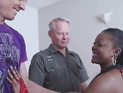 Rebellious ebony gets properly drilled by two horny namby-pamby dudes