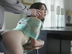 Disconsolate brunette in simple tits gets punished in a big unearth