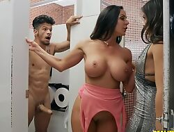 Bambino copulates several horny dark-haired babes more the toilet