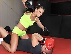 Surprising fighter chick acquires ass drilled nearly the gym
