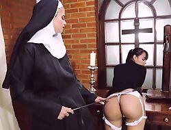 Perverted nun fucks the brush boyfriend on every side strapon dildo