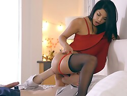 Latina babe Gina Valentina puts primarily a miniskirt dress and lingerie close by seduce her guy purchase anal front and a hardcore romp