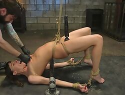 Shaggy stud-horse ties relating to plus fucks pigtailed brunette in both holes